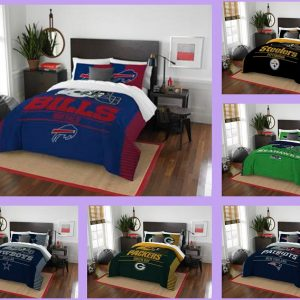 NFL Licensed 3 Piece Full Queen Comforter U0026 Sham Bed Set In A Bag U2013 Choose  Team